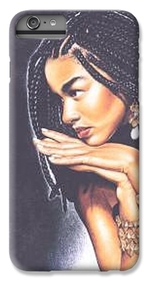 Woman W/folded Hands IPhone 6 Plus Case featuring the drawing Braided Beauty by Charlene Cooper