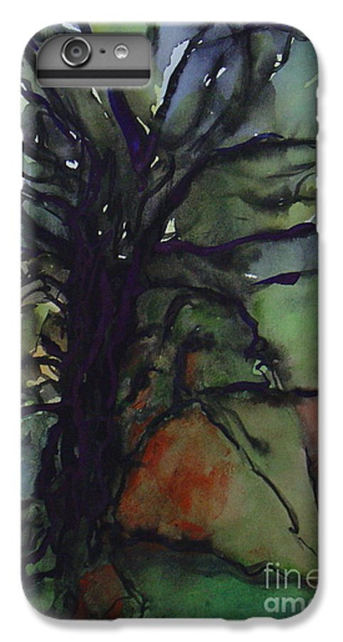 Tree Landscape Abstract Watercolor Original Blue Green IPhone 6 Plus Case featuring the painting Branching by Leila Atkinson