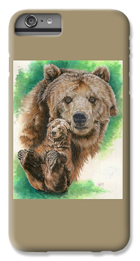 Bear IPhone 6 Plus Case featuring the mixed media Brawny by Barbara Keith