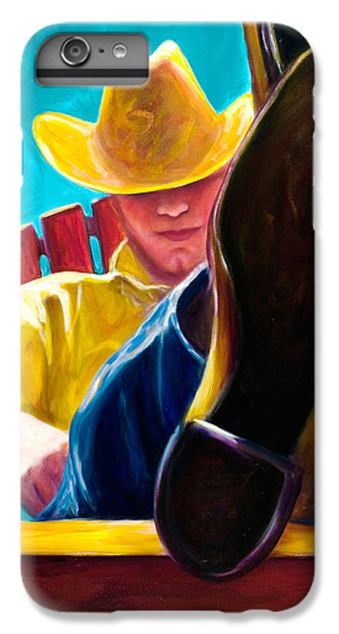 Western IPhone 6 Plus Case featuring the painting Break Time by Shannon Grissom