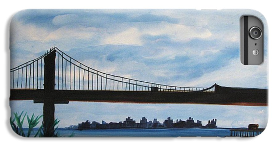 Beach Scene IPhone 6 Plus Case featuring the painting Bridge To Europe by Patricia Arroyo