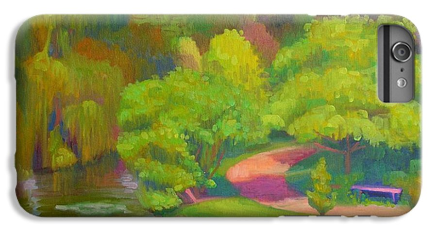 Landscape IPhone 6 Plus Case featuring the painting Bright Hazy Day Chicago Botanical Gardens by David Dozier
