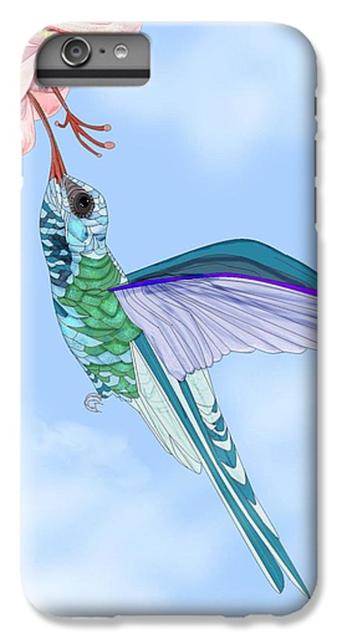 Hummingbird IPhone 6 Plus Case featuring the painting Broadbilled Hummer by Anne Norskog