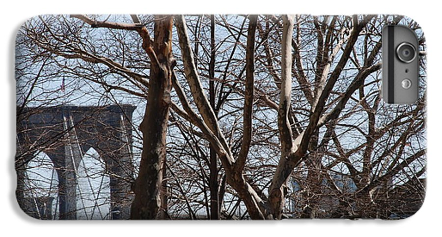 Architecture IPhone 6 Plus Case featuring the photograph Brooklyn Bridge Thru The Trees by Rob Hans