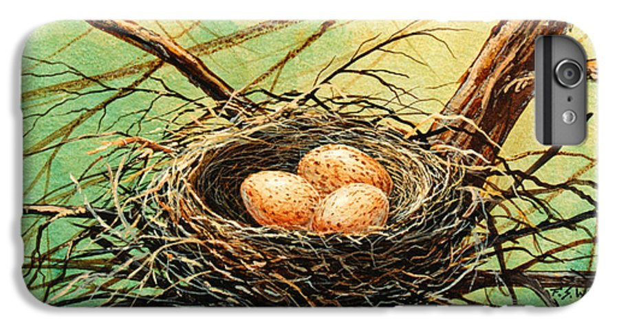 Wildlife IPhone 6 Plus Case featuring the painting Brown Speckled Eggs by Frank Wilson