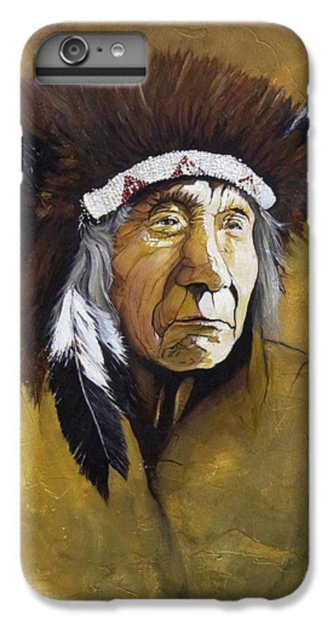 Shaman IPhone 6 Plus Case featuring the painting Buffalo Shaman by J W Baker