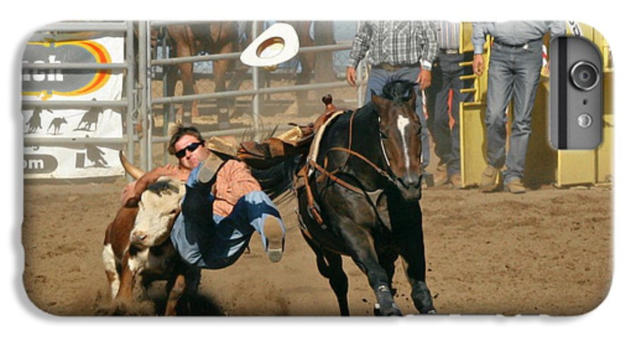 Cowboy IPhone 6 Plus Case featuring the photograph Bulldogging At The Rodeo by Christine Till