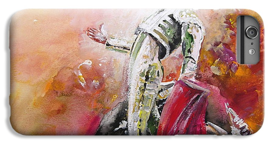 Animals IPhone 6 Plus Case featuring the painting Bullfight 24 by Miki De Goodaboom
