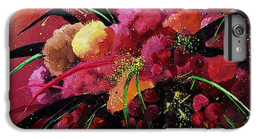Flowers IPhone 6 Plus Case featuring the painting Bunch Of Red Flowers by Pol Ledent