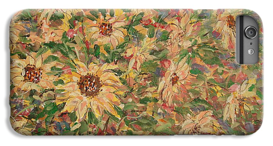Flowers IPhone 6 Plus Case featuring the painting Burst Of Sunflowers. by Leonard Holland