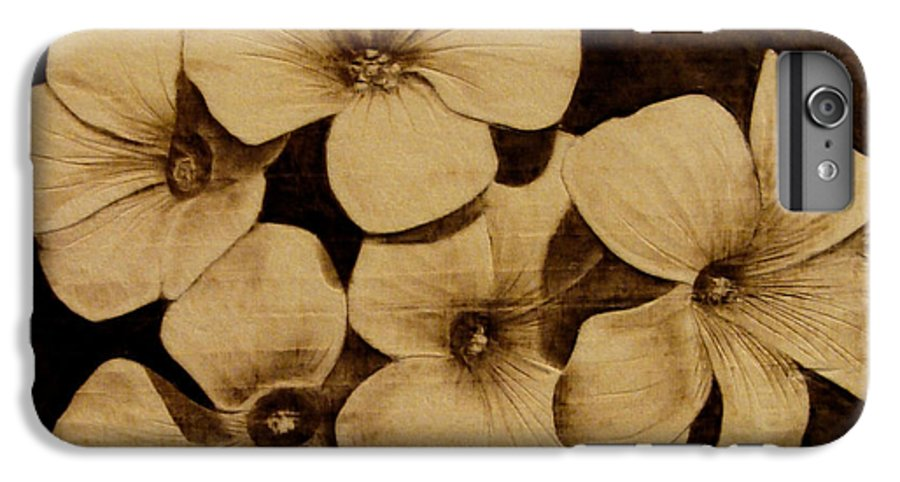 Pyrography; Sepia; Flower; Petals; Boquet; Pansy; Violet; IPhone 6 Plus Case featuring the pyrography Bursting by Jo Schwartz