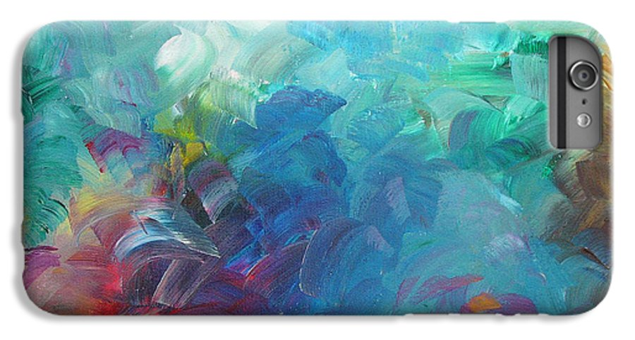 Abstract IPhone 6 Plus Case featuring the painting Busy Day by Peggy King