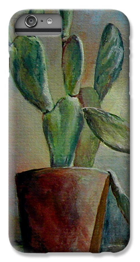 Flower IPhone 6 Plus Case featuring the painting Cactus 1 by Muriel Dolemieux