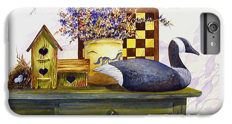 Canada Goose;birdhouse;bird Nest;crock;checkerboard;still Life;country Still Life; IPhone 6 Plus Case featuring the painting Canada And Checkerboard by Lois Mountz