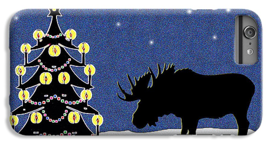 Moose IPhone 6 Plus Case featuring the digital art Candlelit Christmas Tree And Moose In The Snow by Nancy Mueller