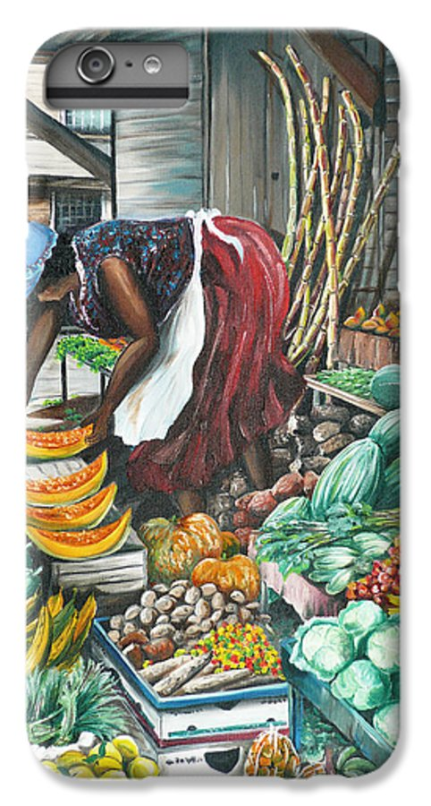 Caribbean Painting Market Vendor Painting Caribbean Market Painting Fruit Painting Vegetable Painting Woman Painting Tropical Painting City Scape Trinidad And Tobago Painting Typical Roadside Market Vendor In Trinidad IPhone 6 Plus Case featuring the painting Caribbean Market Day by Karin Dawn Kelshall- Best
