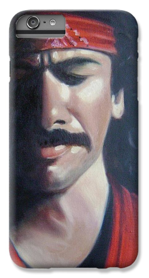 Santana IPhone 6 Plus Case featuring the painting Carlos Santana by Toni Berry
