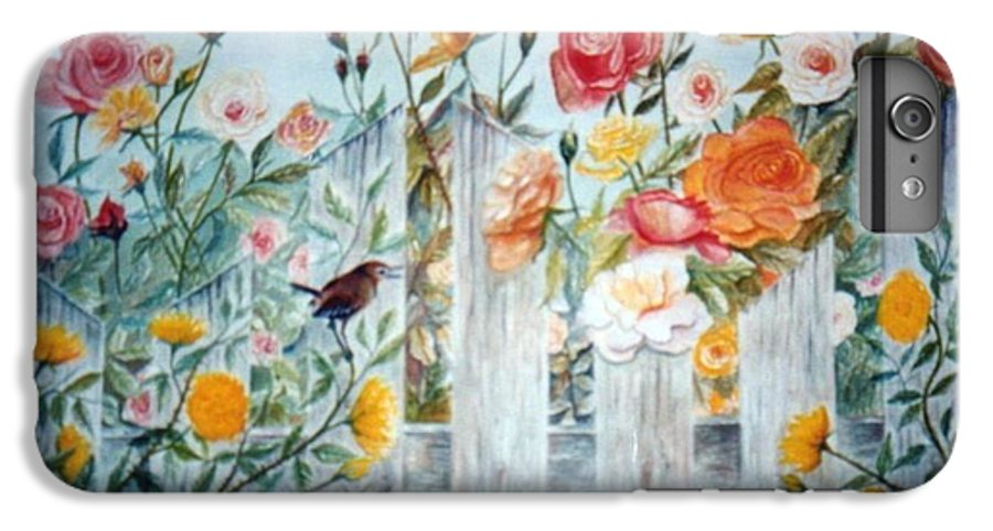 Roses; Flowers; Sc Wren IPhone 6 Plus Case featuring the painting Carolina Wren And Roses by Ben Kiger
