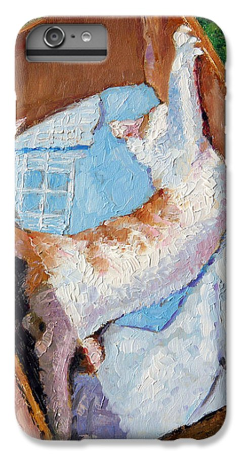 Kitten IPhone 6 Plus Case featuring the painting Cat In A Box by John Lautermilch
