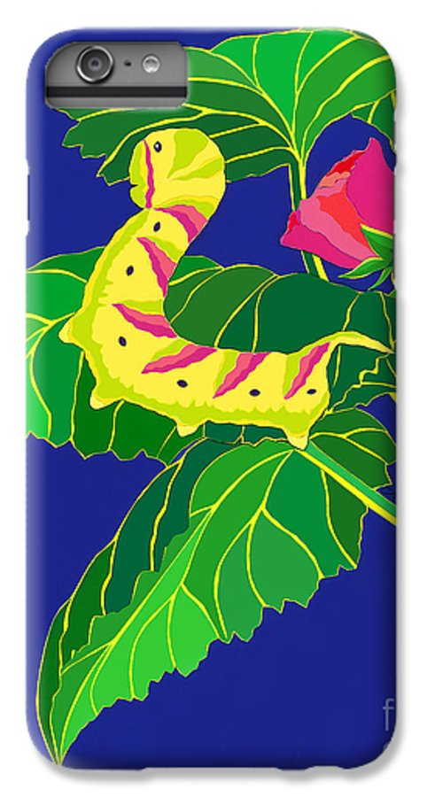 Nature IPhone 6 Plus Case featuring the drawing Caterpillar by Lucyna A M Green