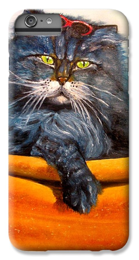 Cat IPhone 6 Plus Case featuring the painting Cat.go To Swim.original Oil Painting by Natalja Picugina
