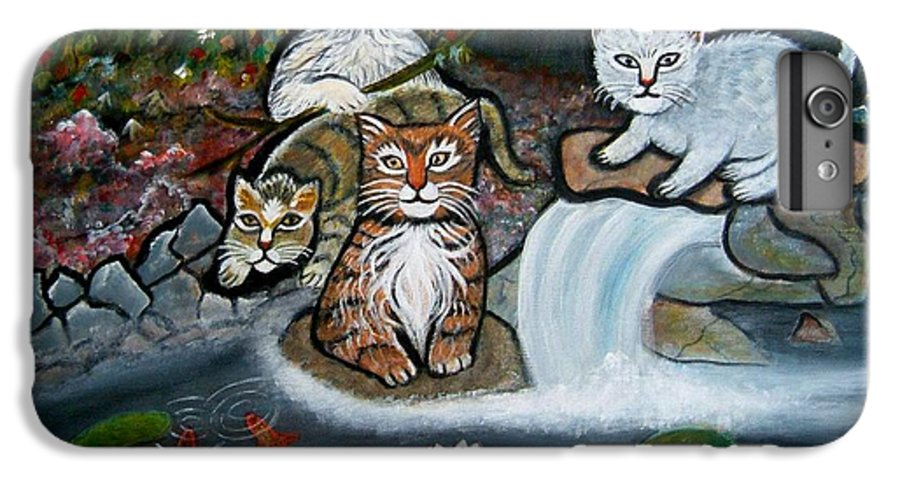 Acrylic Art Landscape Cats Animals Figurative Waterfall Fish Trees IPhone 6 Plus Case featuring the painting Cats In The Wild by Manjiri Kanvinde