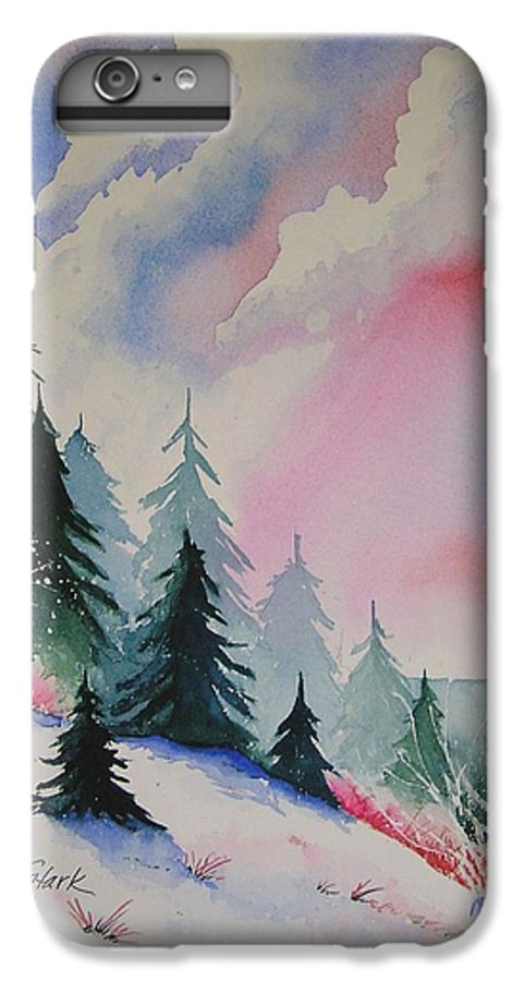 Snow IPhone 6 Plus Case featuring the painting Cedar Fork Snow by Karen Stark