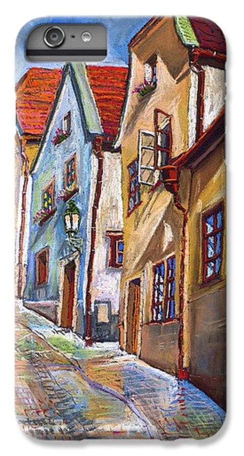 Pastel Chesky Krumlov Old Street Architectur IPhone 6 Plus Case featuring the painting Cesky Krumlov Old Street 2 by Yuriy Shevchuk