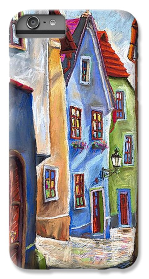 Cityscape IPhone 6 Plus Case featuring the painting Cesky Krumlov Old Street by Yuriy Shevchuk