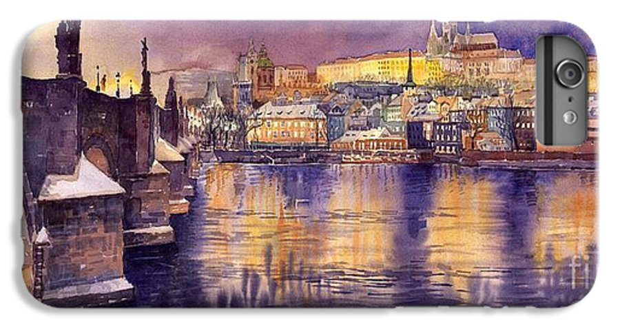 Cityscape IPhone 6 Plus Case featuring the painting Charles Bridge And Prague Castle With The Vltava River by Yuriy Shevchuk