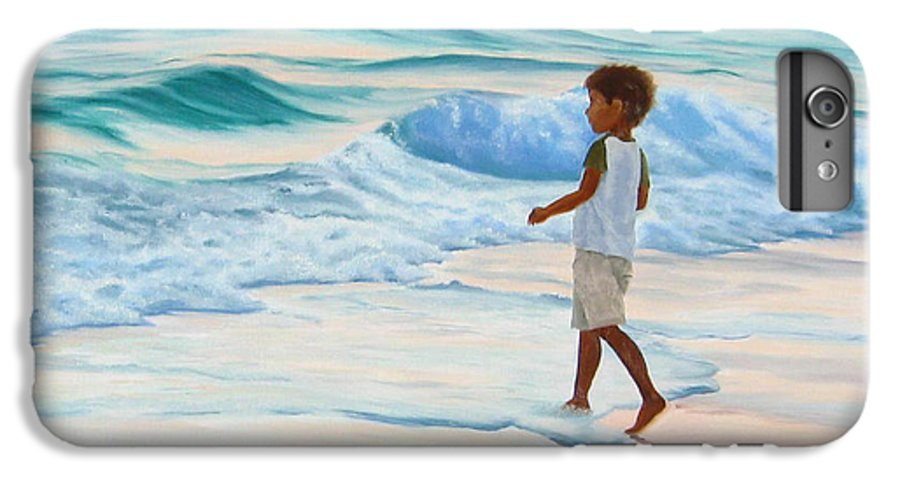 Child IPhone 6 Plus Case featuring the painting Chasing The Waves by Lea Novak