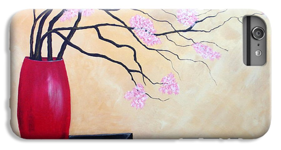 Oriental IPhone 6 Plus Case featuring the painting Cherry Blossoms by Susan Kubes