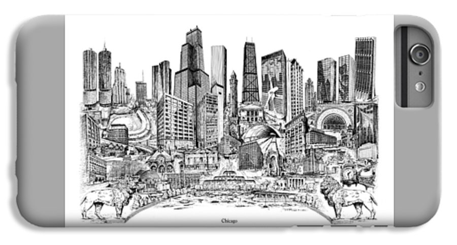 City Drawing IPhone 6 Plus Case featuring the drawing Chicago by Dennis Bivens