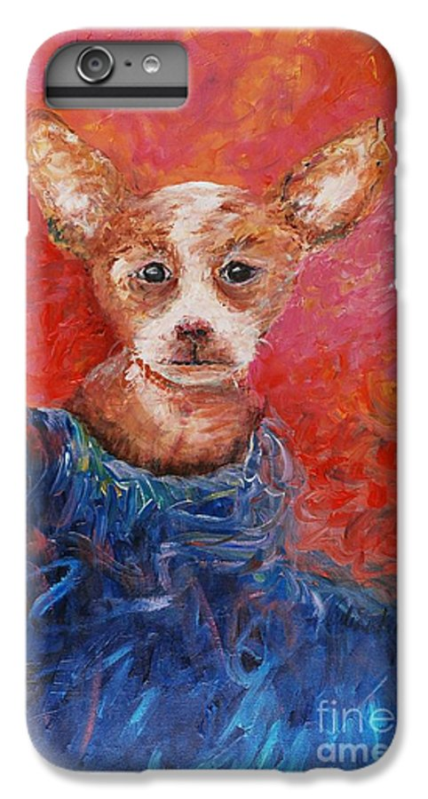 Dog IPhone 6 Plus Case featuring the painting Chihuahua Blues by Nadine Rippelmeyer