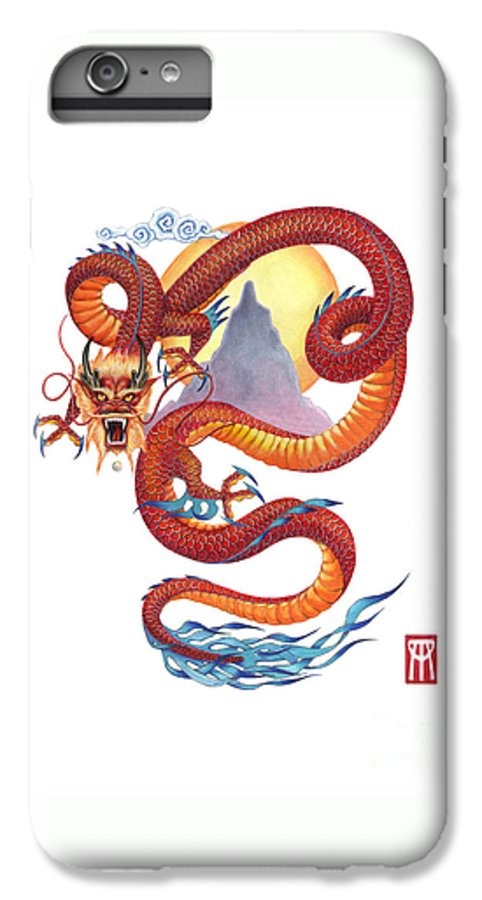 Dragon IPhone 6 Plus Case featuring the painting Chinese Red Dragon by Melissa A Benson