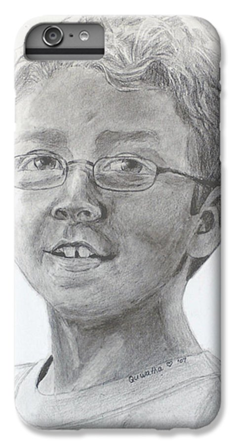 Chris IPhone 6 Plus Case featuring the drawing Chris Dovick by Quwatha Valentine