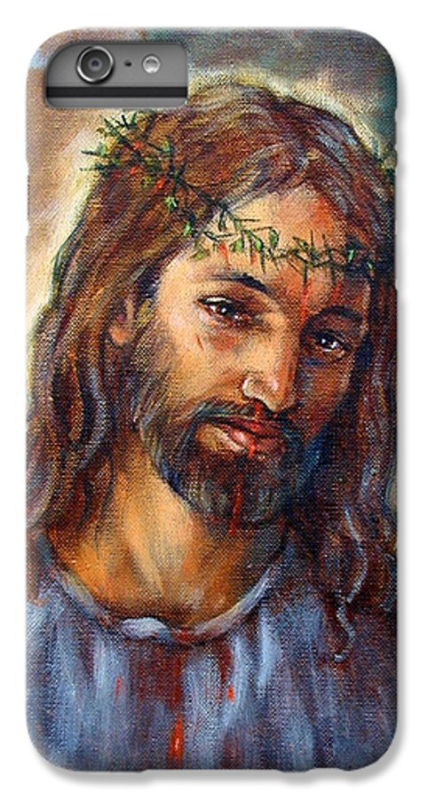 Christ IPhone 6 Plus Case featuring the painting Christ With Thorns by John Lautermilch