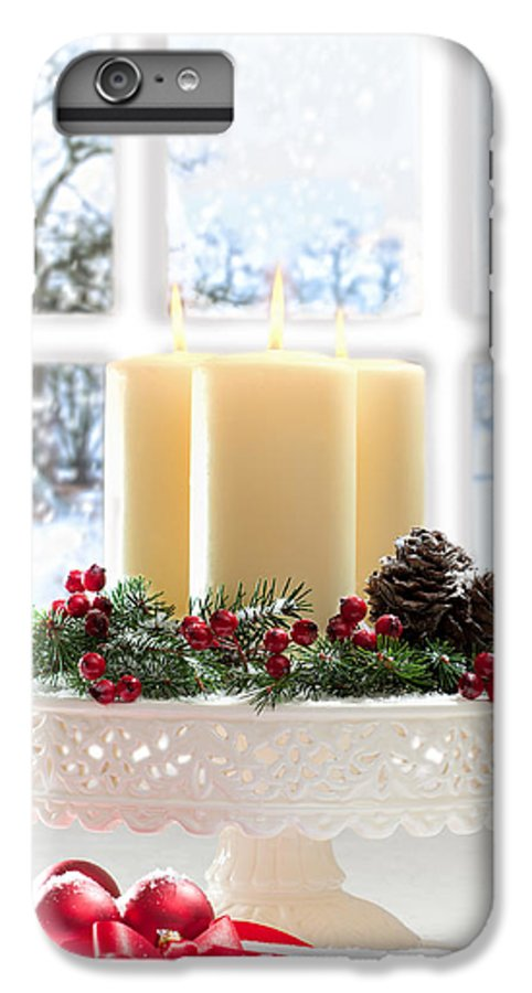 Christmas IPhone 6 Plus Case featuring the photograph Christmas Candles Display by Amanda Elwell