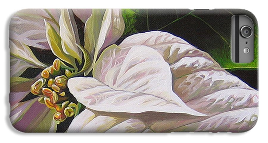 White Poinsettia IPhone 6 Plus Case featuring the painting Christmas Eve by Hunter Jay
