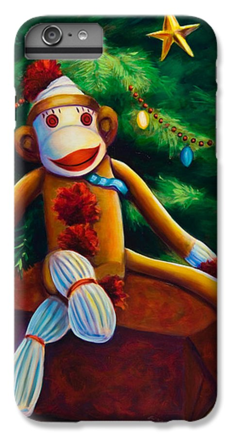 Sock Monkey IPhone 6 Plus Case featuring the painting Christmas Made Of Sockies by Shannon Grissom