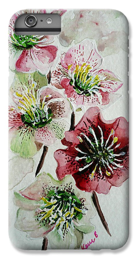 Floral Flower Pink IPhone 6 Plus Case featuring the painting Christmas Rose by Karin Dawn Kelshall- Best