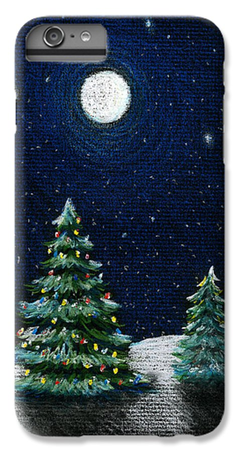 Christmas Trees IPhone 6 Plus Case featuring the drawing Christmas Trees In The Moonlight by Nancy Mueller