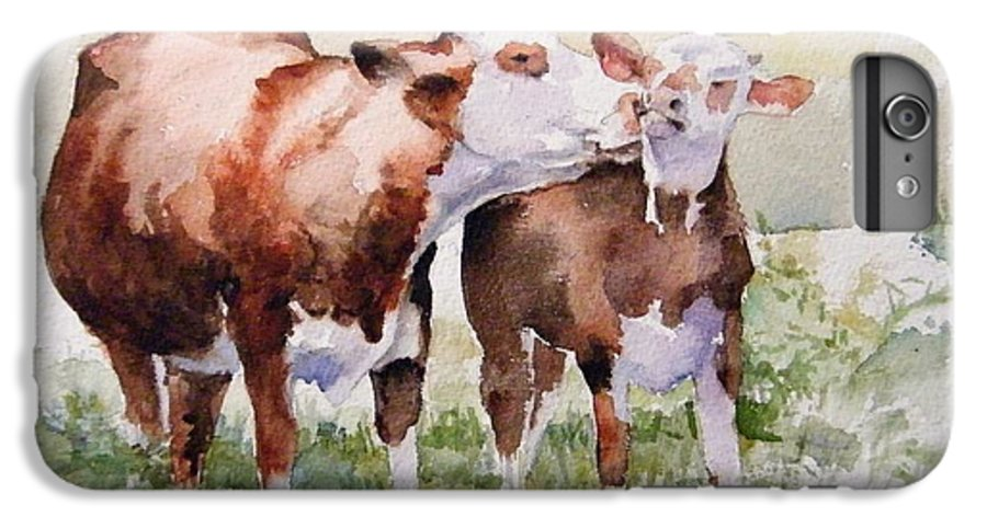 Cows IPhone 6 Plus Case featuring the painting Clean Behind The Ears by Debra Jones