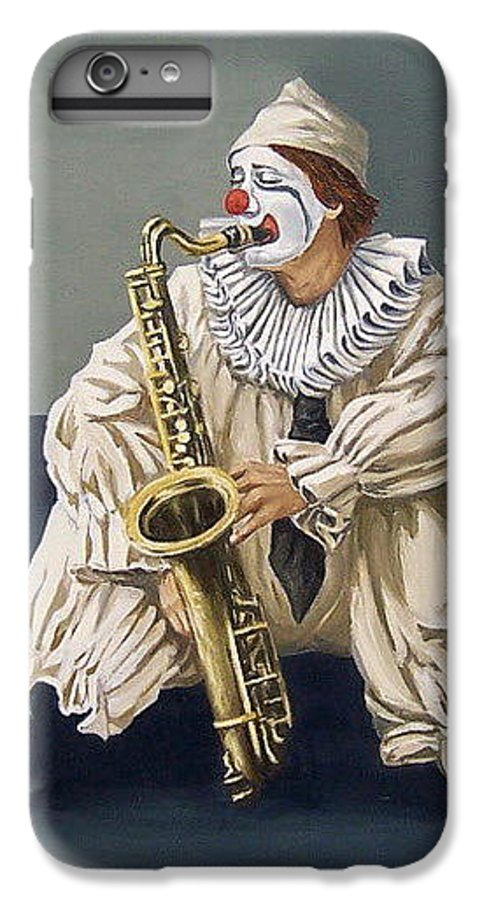 Clown Figurative Portrait People IPhone 6 Plus Case featuring the painting Clown by Natalia Tejera