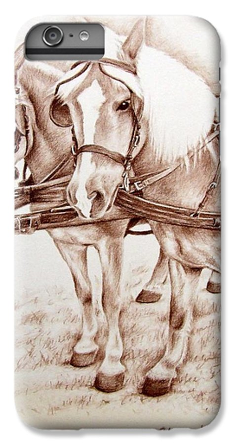 Horses IPhone 6 Plus Case featuring the drawing Coach Horses by Nicole Zeug