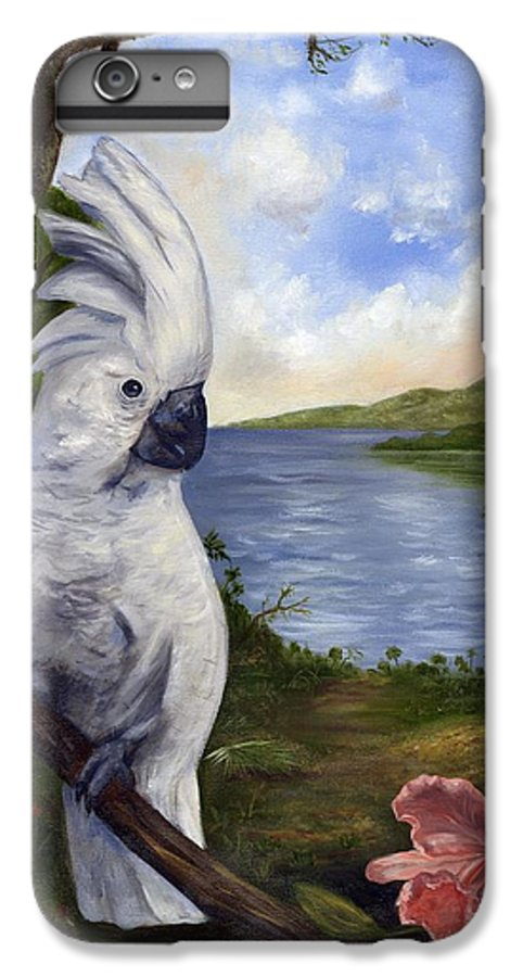 Landscape IPhone 6 Plus Case featuring the painting Cockatoo And Orchid by Anne Kushnick