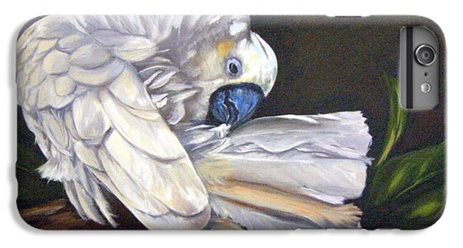 Birds IPhone 6 Plus Case featuring the painting Cockatoo Preening by Anne Kushnick