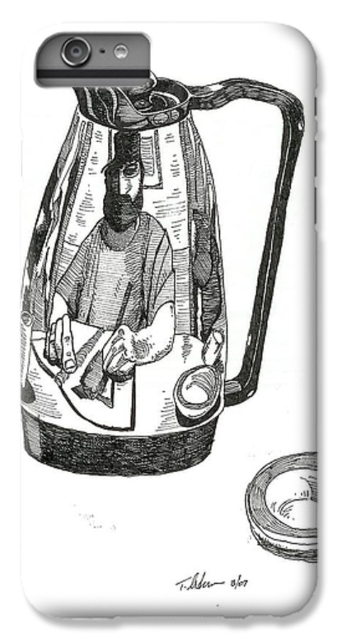 Pen And Ink IPhone 6 Plus Case featuring the drawing Coffee Pot by Tobey Anderson