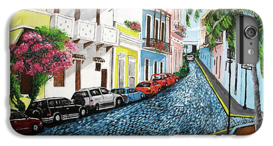 Old San Juan IPhone 6 Plus Case featuring the painting Colorful Old San Juan by Luis F Rodriguez