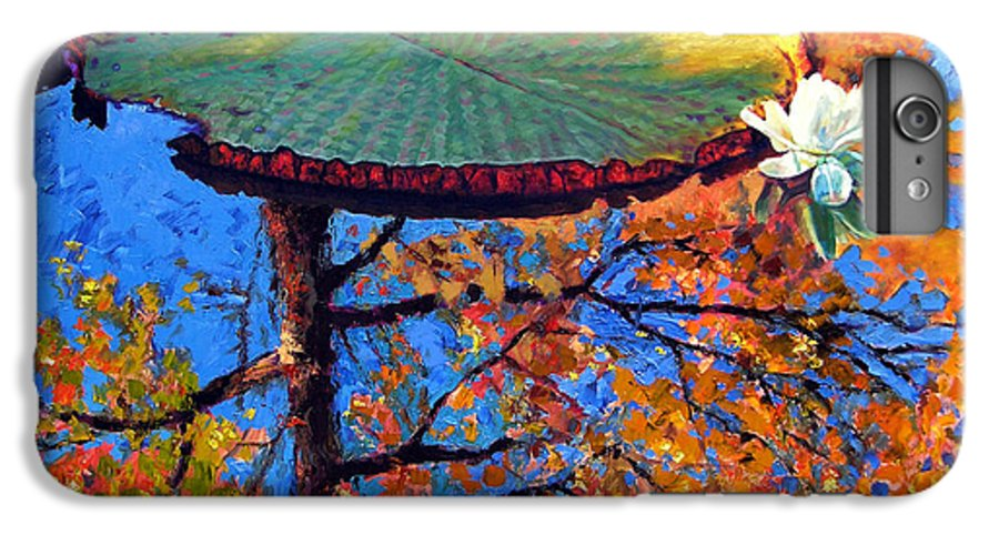 Fall IPhone 6 Plus Case featuring the painting Colors Of Fall On The Lily Pond by John Lautermilch